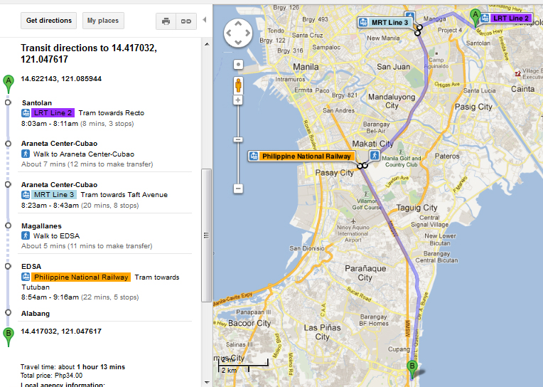 Metro Manila Train Schedules now available in Google Maps